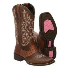 Imagem de Bota Texana feminina bico quadrado couro cano longo 3110 PINHAO