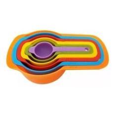 Imagem de Kit Conjunto Jogo Medidores Medidas 6 Colher Xícara Colorido