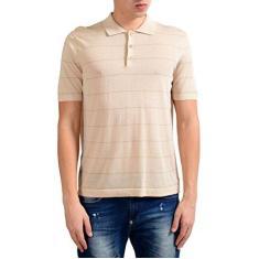 Imagem de Camisa polo masculina de manga curta listrada bege da MALO, Bege, US L IT 52;
