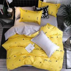 Imagem de Jogo De Cama Queen Yellow Dark 7 Peças Com Edredom