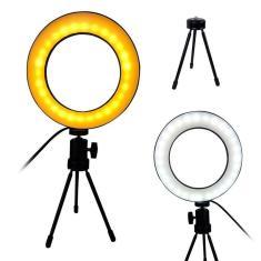 Imagem de Iluminador Ring Light LED Tripe Mesa Portatil Controle Usb Luz Quente/Fria