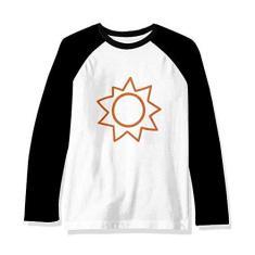 Imagem de Camiseta raglan de manga comprida com pintura à mão laranja sol sol, Multicor, 3X-Large