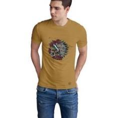 Imagem de Camiseta Mayon Algodão Egípcio Bege Caveira Indian Skull