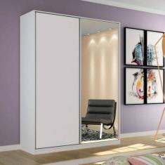 Guarda-Roupa Solteiro 2 Portas Gavetas com Espelho Terrazo Siena Móveis