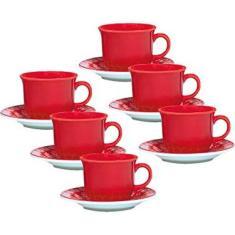 1 Conjunto com 6 Xícaras de Chá com Pires 15 Cm Oxford Daily Floreal Renda BrancoVermelho 200 Ml