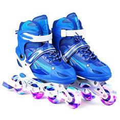 Imagem de patins embutidos ajustáveis, Baugger Patins embutidos iluminantes ajustáveis com rodas iluminadas para crianças e adultos para meninas e meninos, homens e mulheres