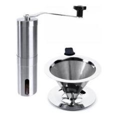 Kit Moedor De Café E Coador Filtro Em Inox 101