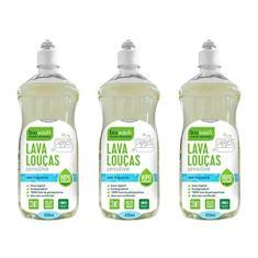 Kit 3 Lava Louças Natural Biodegradável Sensitive Biowash