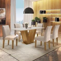 Imagem de Conjunto Sala de Jantar Mesa Tampo MDF 6 Cadeiras Espanha Siena Móveis