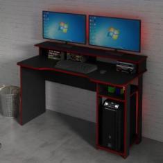 Mesa Gamer Com Porta Cpu Tecno Mobili Preto/Vermelho