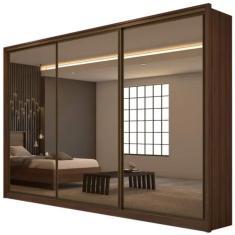 Guarda-Roupa Casal 3 Portas 6 Gavetas com Espelho Spazio Super Glass 3E Móveis Lopas