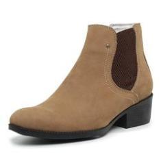 Imagem de Bota Botina Country Feminina Top Franca Shoes Bege