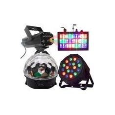 Imagem de Kit Festa Iluminação Bola Maluca - Refletor Led par RGB - Strobo - Laser