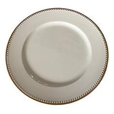 Imagem de Jogo 6 Sousplat de Poliestireno Branco com Detalhe Dourado 33cms