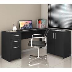 Imagem de Mesa de Canto Escrivaninha em L Notavel com 2 Gavetas 3 Portas para Escritorio  NT 2005
