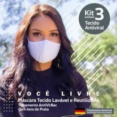 Imagem de Kit 3 Máscaras Tecido Antivirus Filtragem Similar Mascara N95 Lavável Anatômica íons de Prata Unissex