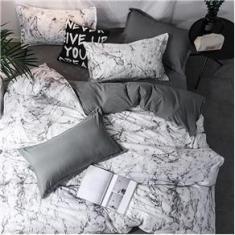 Imagem de Jogo de cama casal super king 7 peças edredom mármore decor