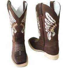Imagem de Bota Texana Crazy Horse Cocar Sola Marfim Bico Quadrado