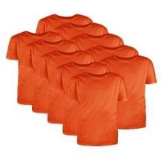 Imagem de Kit com 10 Camisetas Básicas Algodão Laranja Tamanho G