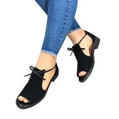 Imagem de Qianduo Sandálias femininas com suporte de arco, confortáveis sandálias de salto plano com sola de borracha antiderrapante, design de laço frontal