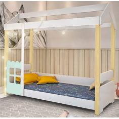 Imagem de Cama Infantil com Casinha Montessoriana Laura 99cm Madeira Maciça Divaloto Móveis