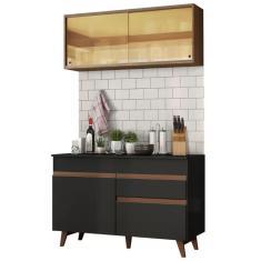Imagem de Cozinha Compacta 1 Gaveta 4 Portas com vidro Reims 120001 Madesa