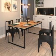 Imagem de Mesa Sala de Jantar Cozinha Retangular 4 Lugares Industrial Metal 160x90cm