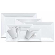 Aparelho de Jantar Retangular de Porcelana 30 peças - Plateau White Oxford Porcelanas