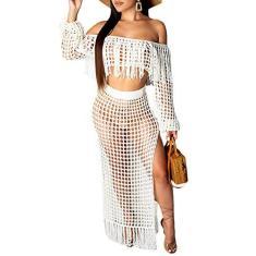 Imagem de Conjunto de biquíni feminino sexy com franjas, vazado, 2 peças, blusa recortada com ombro vazado transparente e vestido longo dividido, , Small