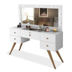 Imagem de Penteadeira Camarim Retrô Com Espelho, Led, 4 Gavetas E Porta Objetos Nevada Branco