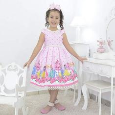 Imagem de Vestido infantil tema Princesas da Disney com laço nas costas