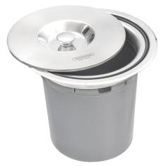 Imagem de Lixeira De Embutir Clean Round - Aço Inox Com Balde Plástico - 5 L - Tramontina