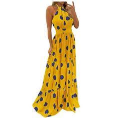 Imagem de Vestido para mulheres, elegante, sexy, praia, sem mangas, decote em V, vestido longo de praia com estampa floral, colado ao corpo, vestido maxi, , XXG