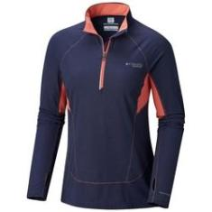 Imagem de Blusa Columbia Montrail Titan Ultra Half Zip Shirt Feminina - Marinho / Laranja