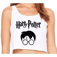 Imagem de cropped feminino blusa regata esportiva estampa Harry Potter óculos Geek relíquias da morte