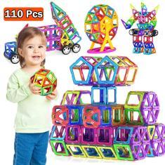 Imagem de Blocos Magnéticos 110 Peças Brinquedo Educacional
