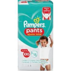 Fralda de Vestir Pampers Pants Ajuste Total Tamanho XXG 12 Unidades Peso Indicado 14 - 25kg