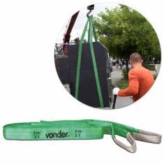 Cinta para Elevação de Cargas Vonder CE220 Capacidade de Até 2 Toneladas 2 Metros Poliéster Verde
