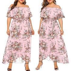Imagem de Fymini 2021 Vestido feminino plus size GG-5GG, estampa floral, ombro de fora, mangas curtas, amarrado na cintura, vestido longo para festas diárias
