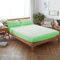 Imagem de Lençol para Cama Casal Padrão 03 Peças Com Elástico Tecido Percal 200 Fios Verde - Verde