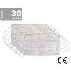 Imagem de Máscaras Descartáveis Triplas TNT com Elástico e Clip Nasal - 30 Unidades