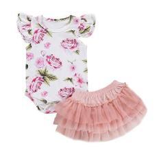Imagem de Conjunto de roupas para bebês recém-nascidos, manga curta, floral, vestido de tutu, roupas de verão, 2 peças