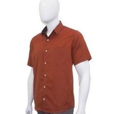 Imagem de Camisa Social Masculina Manga Curta Laranja Quadriculada Xadrez Bom Pano