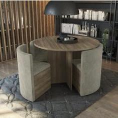 Imagem de Conjunto Sala de Jantar Mesa Redonda 4 Cadeiras Estofadas Kappesberg Nogal/Bege