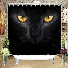 Imagem de Cortina de chuveiro para decoração de casa, decoração de banheiro listrada, cortina de chuveiro com tema de gato, fibra de poliéster à prova d'água, incluindo gancho 182,88 x 182,88 cm