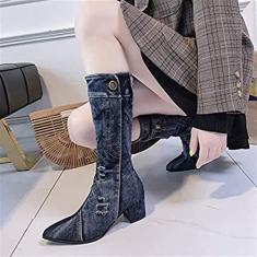 Imagem de PLAYH Bota feminina estilo caubói ocidental, botas de cano curto, bico fino, zíper e salto alto grosso Martin Boots (cor: , tamanho: 35)
