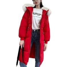 Imagem de QUTYRE Casaco feminino leve com isolamento térmico, casaco com capuz de pele mais espesso para inverno jaqueta slim Down M-3GG, , 2GG