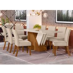 Imagem de Conjunto Sala Jantar Mesa Epic Tampo MDF com Vidro e 8 Cadeiras Maris Estofadas Henn