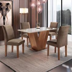 Imagem de Conjunto Sala De Jantar Mesa Tampo De Vidro 4 Cadeiras Espanha Espresso Móveis