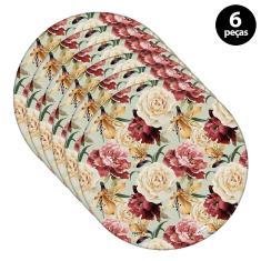 Imagem de Sousplat Mdecore Floral 32x32cm Verde 6pçs